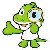 Dinosaur mascot examine a with a magnifying glass. Animal Charac