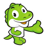 Dinosaur mascot Suggests the direction. Animal Character Design