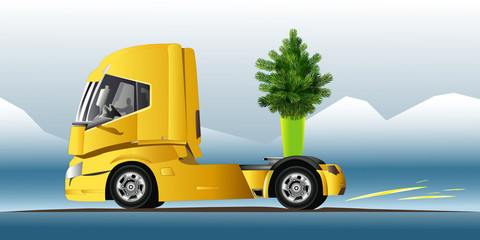 Truck with green tree