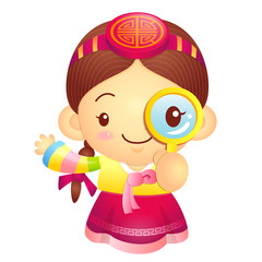 Girl mascot examine a with a magnifying glass. Korea Traditional