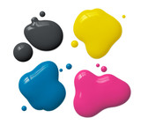 splattered cmyk ink