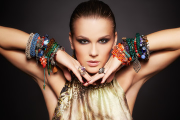 beautiful woman in bracelets