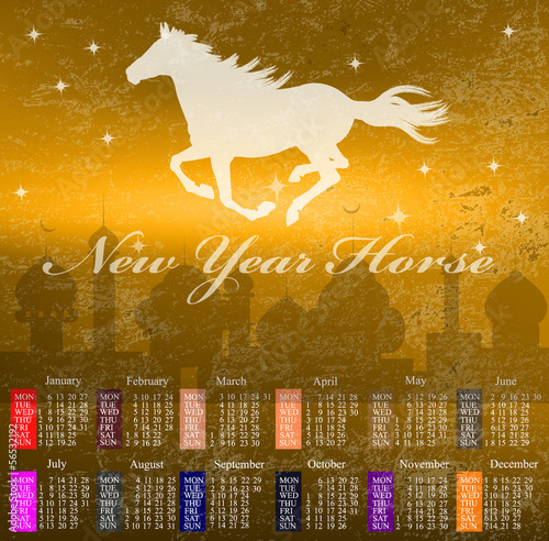 The New Year Horse.Calendar 2014