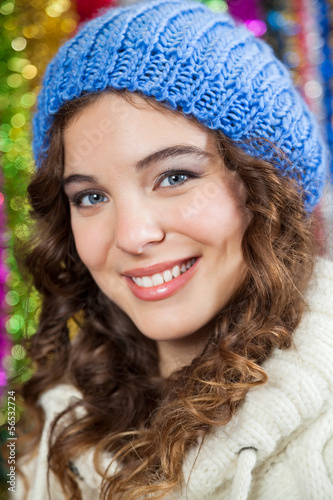 Beautiful Woman At Christmas Store