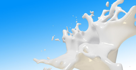 Pouring white milk splash on colour background
