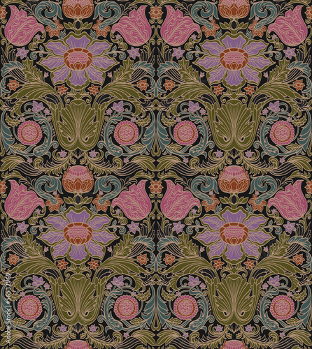 Vector seamless baroque vintage pattern