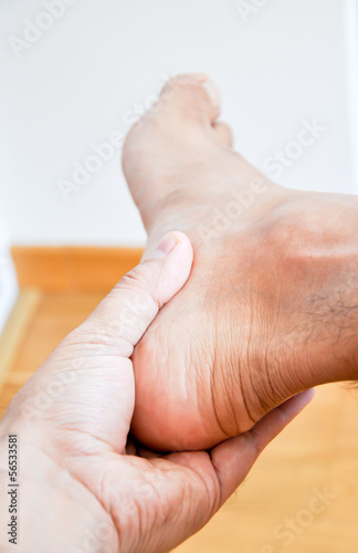 man having heel or ankle pain