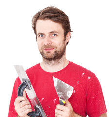 Manual worker with wall plastering tools isolated on white
