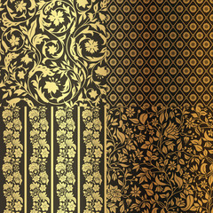 Set of Vintage Floral seamless ornate patterns.