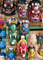 Wooden Mask for Sale in Nepal.