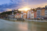 View of Saone river in Lyon city at sunset