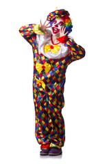 Clown in the costume isolated on white