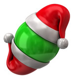 Two Santa Claus red hats and  green sphere