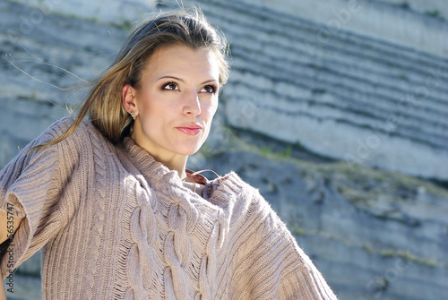 Beautiful stylish girl in the mountains