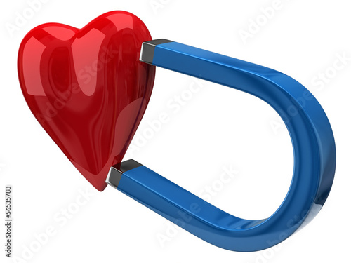 Horseshoe blue magnet attracting red heart
