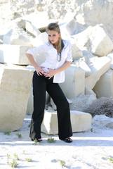 Stylish girl wearing pants and a shirt