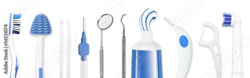 Leinwanddruck Bild Instrumente zur Zahnpflege, dental hygiene