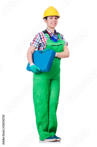 Young woman in green coveralls