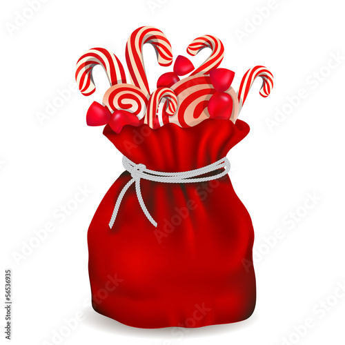 Santa bag with candy, vector illustration