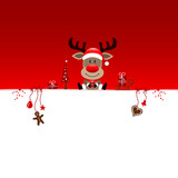 Background Sitting Christmas Reindeer & Symbols Red