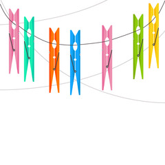 Abstract vector background with clothes pin, ropes