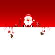 Background Sitting Christmas Santa & Symbols Red