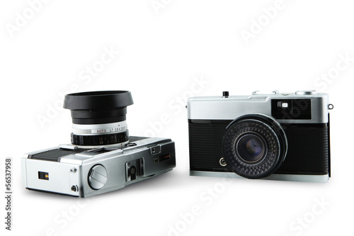 Antique camera on white background