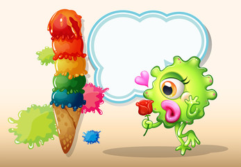 A monster holding a rose while standing near the giant icecream