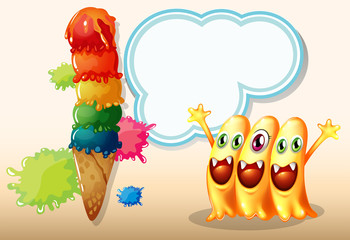 Three happy beanie monsters near the giant icecream