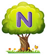 A tree with a letter N