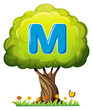 A tree with a letter M