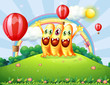 A hilltop with three happy monsters watching the floating balloo