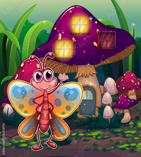 A butterfly in front of the mushroom house