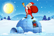 Santa standing above an igloo