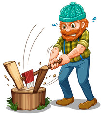 A tired lumberjack