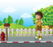 A boy at the road near the wooden mailbox