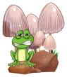 A sad frog near the mushrooms