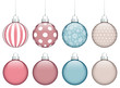 Collection of 8 Christmas Balls Retro Color