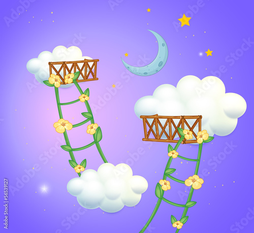 Two plant ladders going to the sky