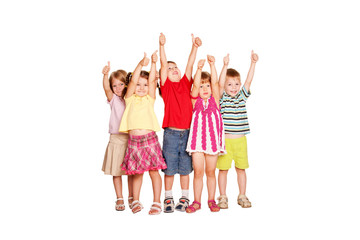 Group of children showing thumbs up sign