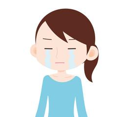女性 上半身 悔し泣き