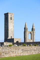 ruins of St. Rule's church and cathedral, St Andrews, Fife, Scot
