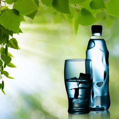 Spring mineral water bottled with glass and ice against natural