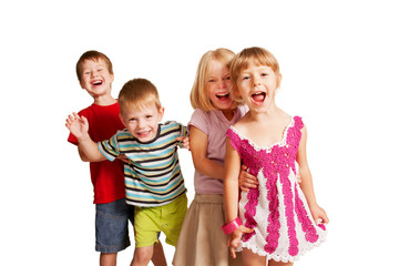 Group of little children  playing and screaming