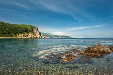 Sea landscape on a wild bay