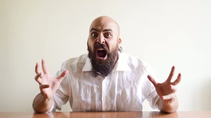 lover crazy funny bearded man eating heart and falling in love