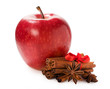 red apple with cinnamon and star anise