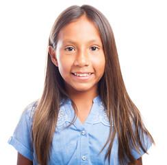 latin girl face on white background