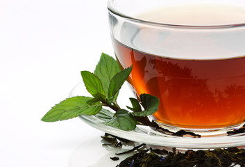 tea with mint and dried leafs
