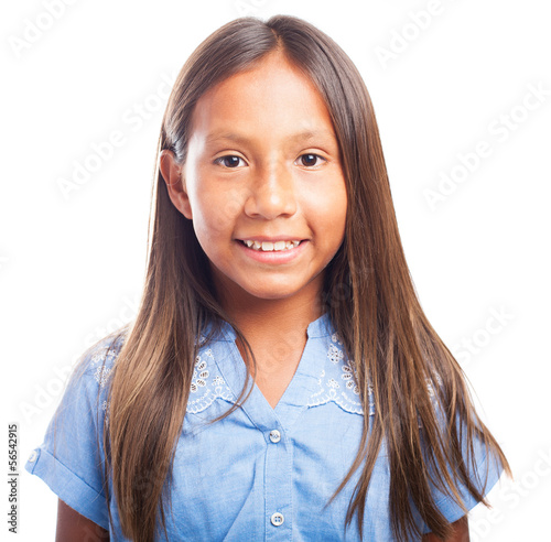 latin girl face on white background